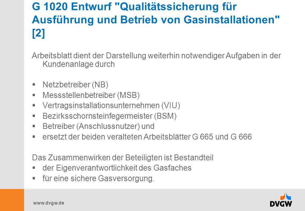 G 1020 Entwurf Qualitätssicherung für Ausführung und Betrieb von Gasinstallationen [2]
